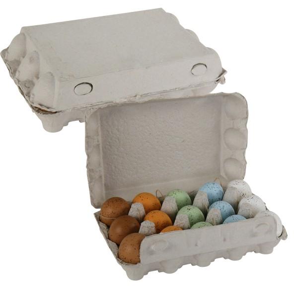 15 Stück echte Eier in Pastellfarben zum Hängen in Pappbox