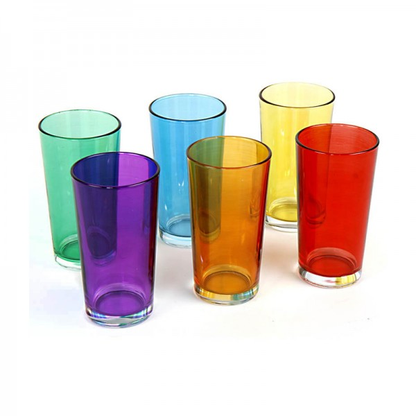 Trinkgläser 6-tlg. Set aus buntem Glas 250 ml