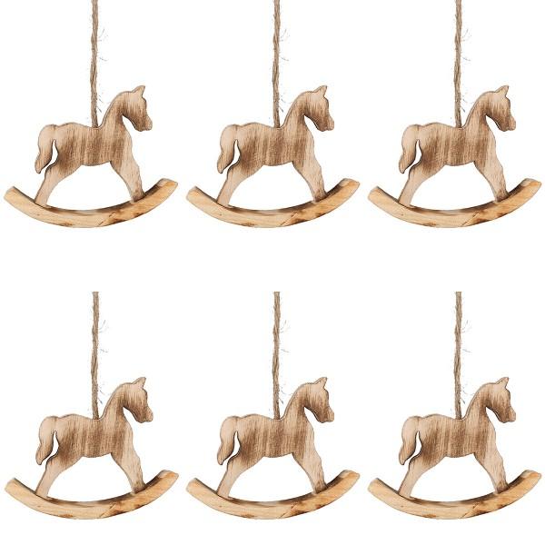 6 x Schaukelpferde aus Holz zum Hängent 9 cm - Baumschmuck