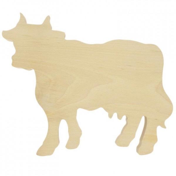 """Schneidbrett """"Kuh"""" aus massiver Buche 34,5 x 27 cm"""
