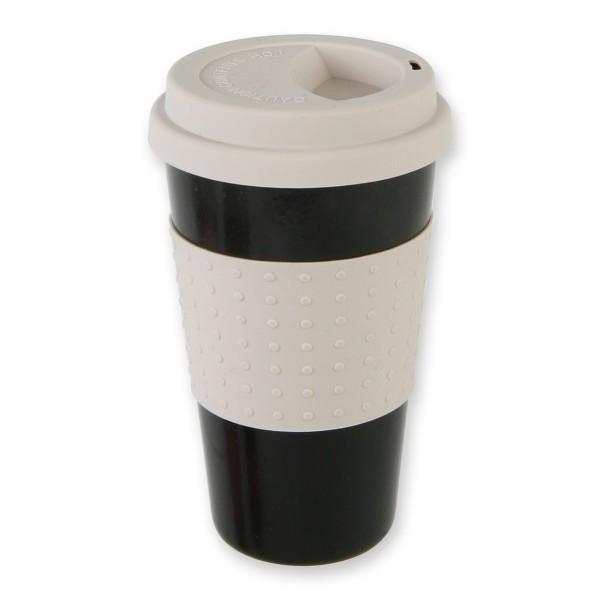 """Becher """"coffee to go"""" mit Umrandung und Deckel aus Silikon"""