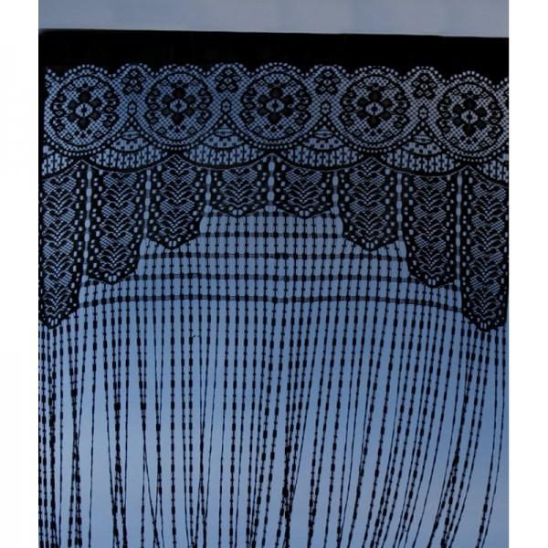 Vorhang, Türvorhang oder Raumteiler in Häkeloptik, schwarz