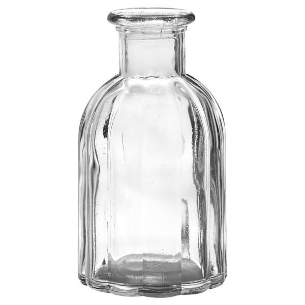 6 x Vasen aus Glas in geriffelter Optik H 13,5 cm