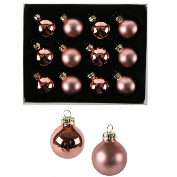 12 x Kleine Baumkugeln aus Glas Ø 3 cm, rosa