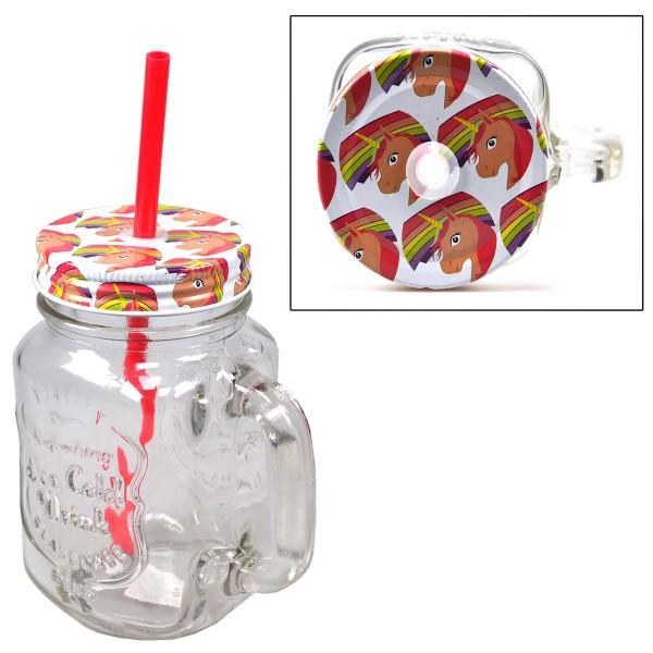 """6 x Trinkglas """"Einhorn"""" mit Deckel und Trinkhalm 450 ml"""