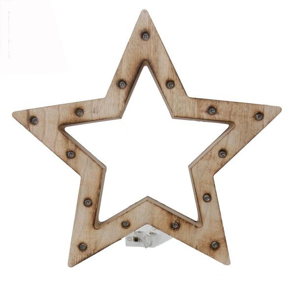 Holz Stern mit 15 LED Lichtern