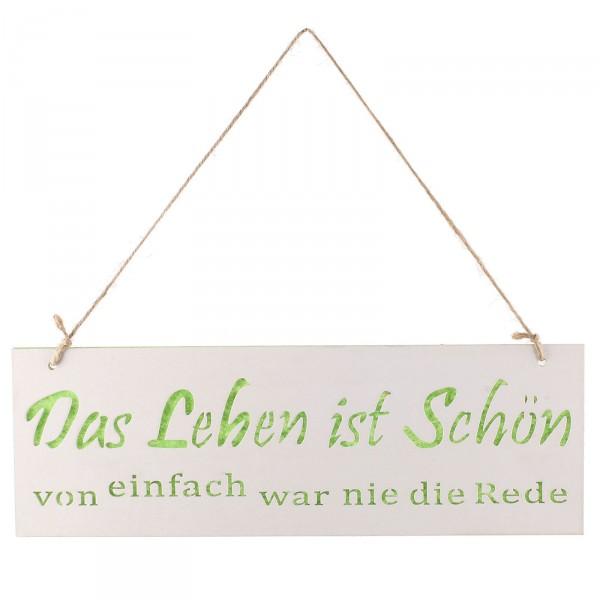 """Türschild """"Das Leben ist schön"""" aus Holz 30 x 10 cm"""