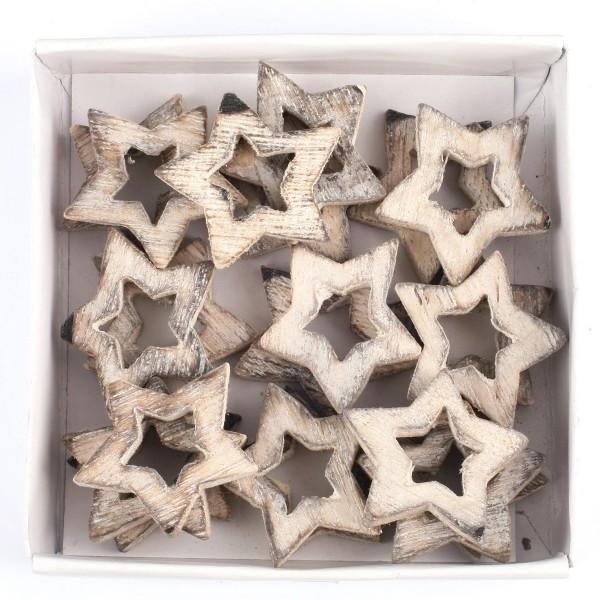 24 Stück Sterne aus Holz 3,5 cm