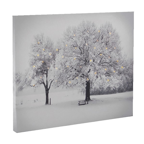 """Bild """"Winterbäume"""" mit 40 Mikro-LED´s, 40 x 30 cm"""