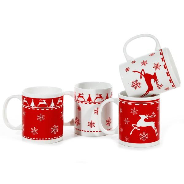 Weihnachtstassen mit Hirsch-Design in vier Modellen sortiert