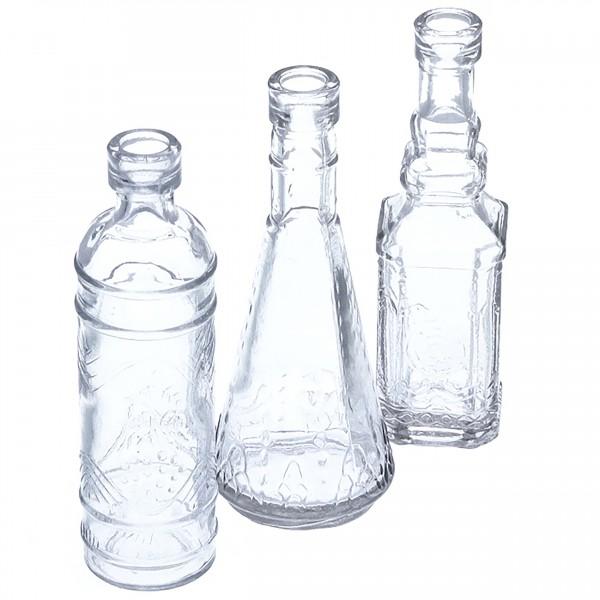 12 x Vase - Deko-Glasflaschen H 12 cm