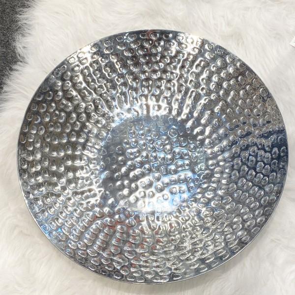 XXL Dekoschale aus gehämmertem Metall Ø 43 cm