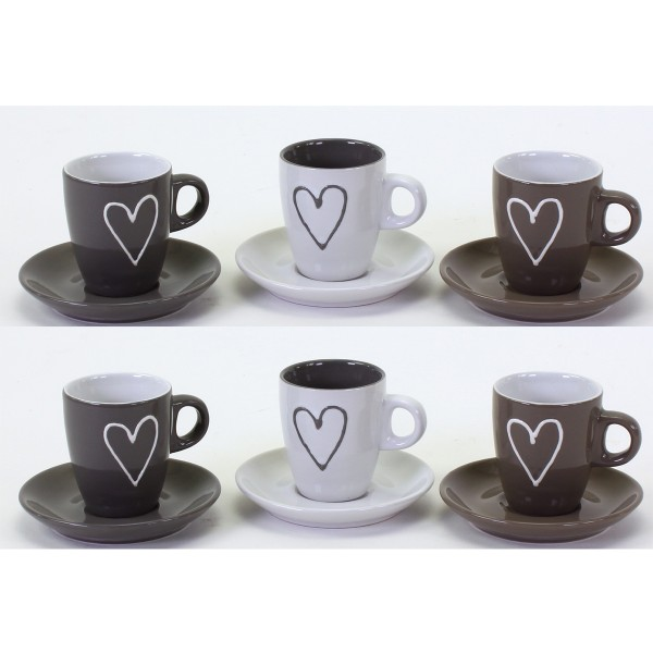 """Espressotassen mit Untertassen """"Herz"""" 12-tlg. Set"""