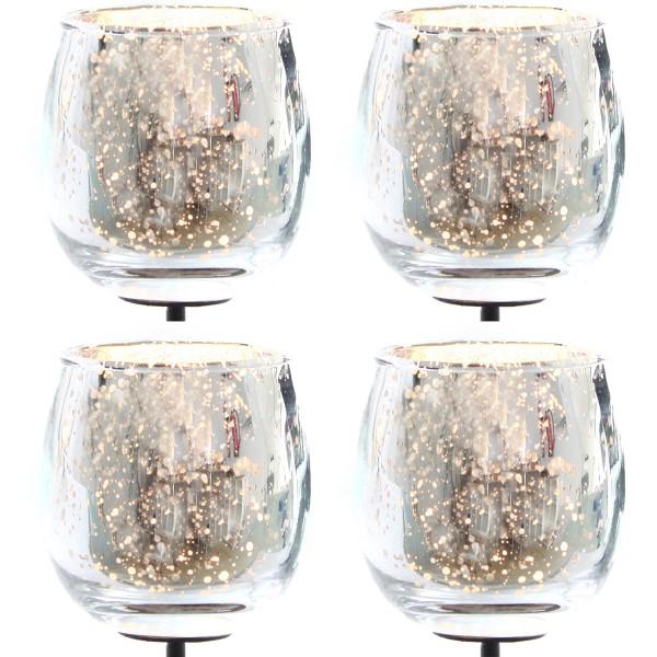 Teelichtgläser für Gestecke mit Metallpick 4-tlg. Set, Bauernsilber