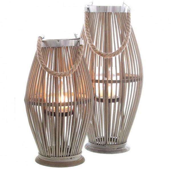 Laterne aus Bambus mit Henkel und Glaszylinder H 40 bis 95 cm