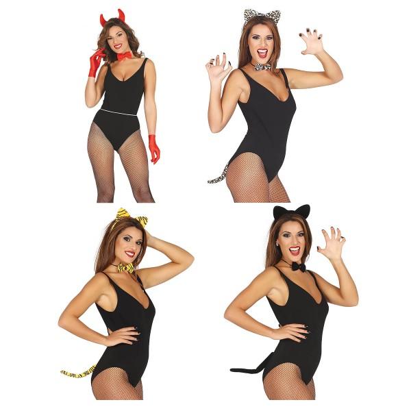 3 tlg. Verkleidungs-Set sexy als Teufel, Leopard, Tiger und Katze