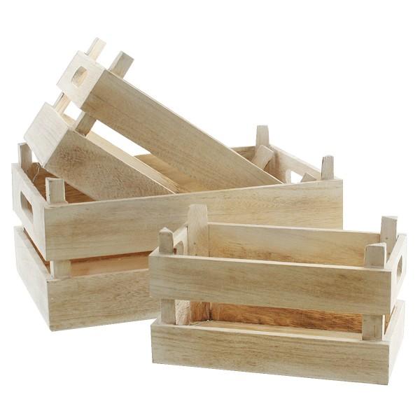 3-tlg. Set Holzkisten, naturfarben weiß-gewischt