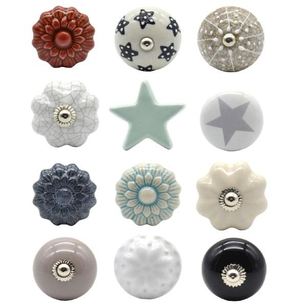12 x Möbelknöpfe aus Keramik im Vintage-Look Ø 4 cm