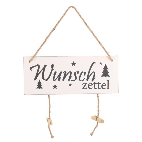 """Antikholz-Türschild """"Wunschzettel"""" 30 x 12 cm"""