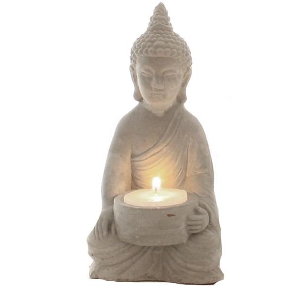"""Teelichthalter """"Buddha"""" aus Beton H 15 cm"""