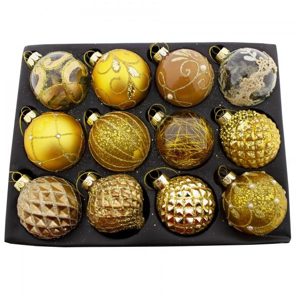 12 Stück Weihnachtskugeln aus Glas, goldfarben Ø 8 cm