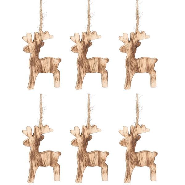 Hirsche aus Holz zum Hängen, geflammt 6-tlg. Set H 11 cm