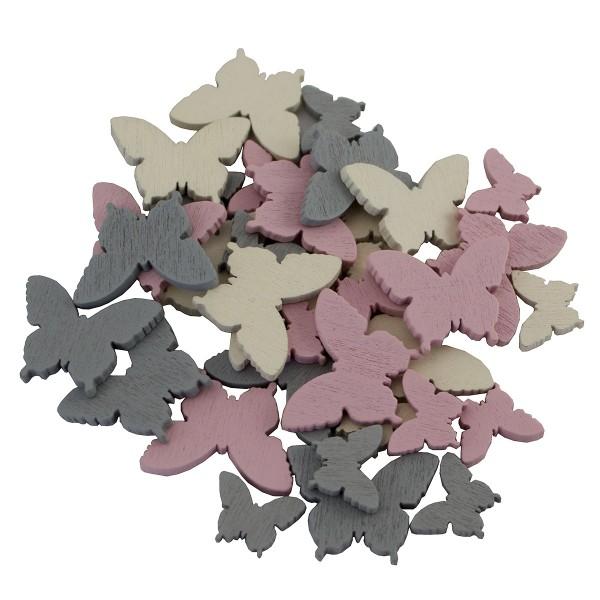 144 x Holz-Schmetterlingsstreuer, rosa, grau und creme, 1,5 - 2,5 cm