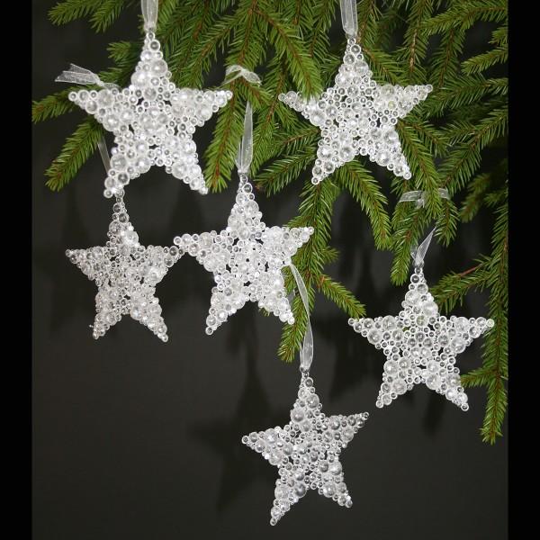 Sterne mit Acrylsteinen zum Hängen, 6-tlg. Set