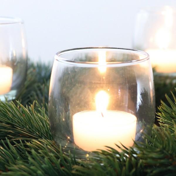 Adventskranzstecker Glas - Teelichtgläser für Gestecke 4-tlg. Set