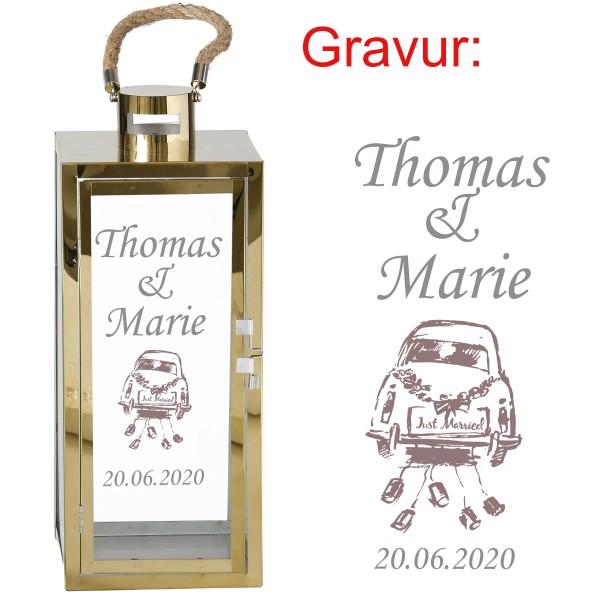 """Laterne """"Genua"""" aus Eisen mit persönlicher Gravur zur Hochzeit H 31/45 cm"""