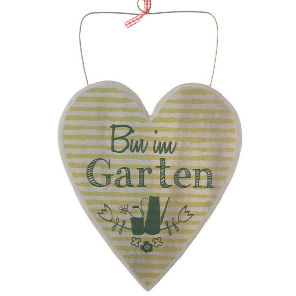 """Holzschild """"Bin im Garten"""" zum Hängen"""