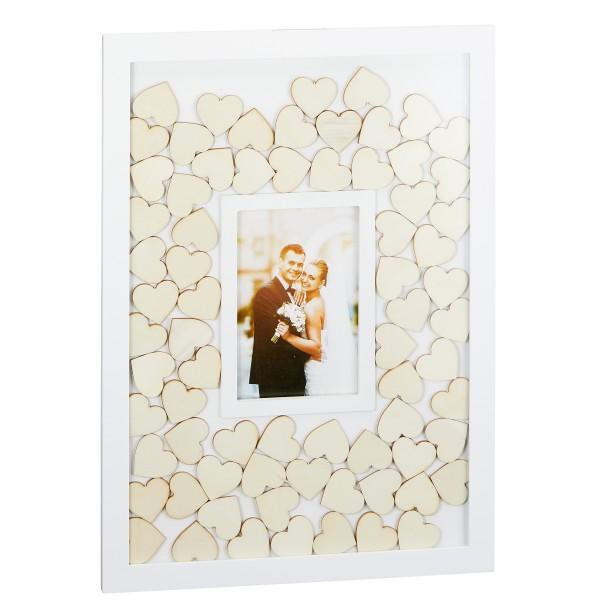 Gästebuch als Bilderrahmen mit 72 naturbelassenen Herzen 43 x 31 cm