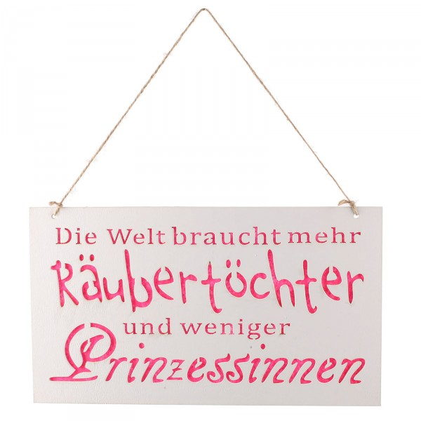 "Türschild ""Räubertochter"" aus Holz zum Hängen 30 x 17 cm"
