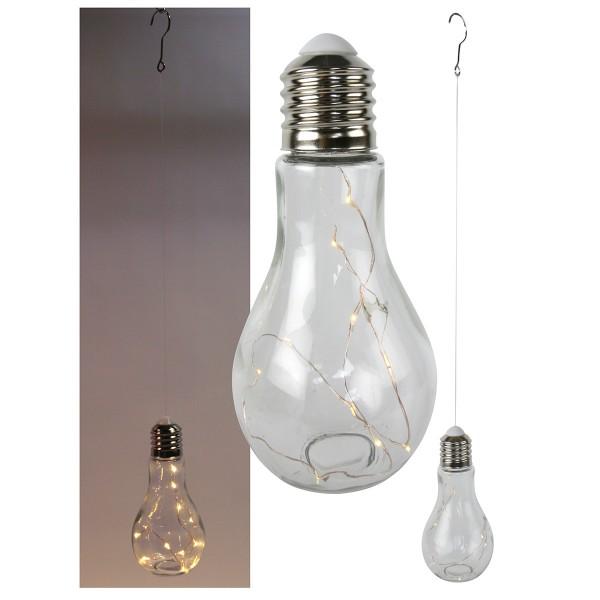 """Coole Stimmungslampe """"Glühbirne""""Glas H 18,5 cm, weiß"""