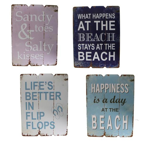 """4-tlg. Set Holzschilder """"Beach"""" im Retro-Look 21 x 28 cm"""