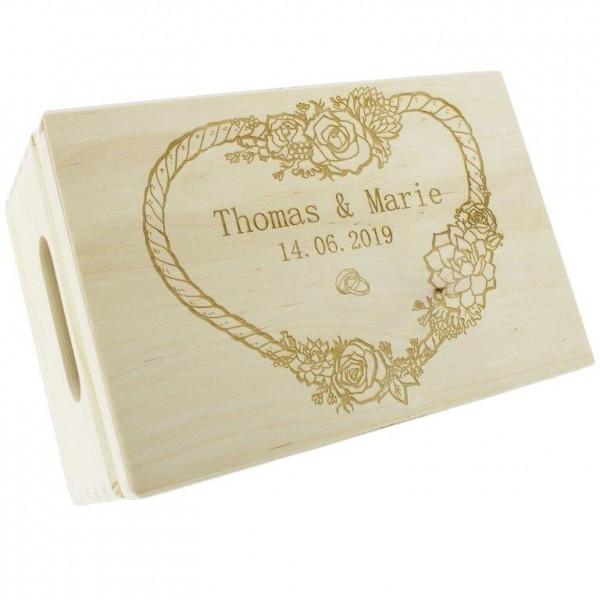 Erinnerungsbox aus Holz zur Hochzeit 20 x 30 cm - Graviert