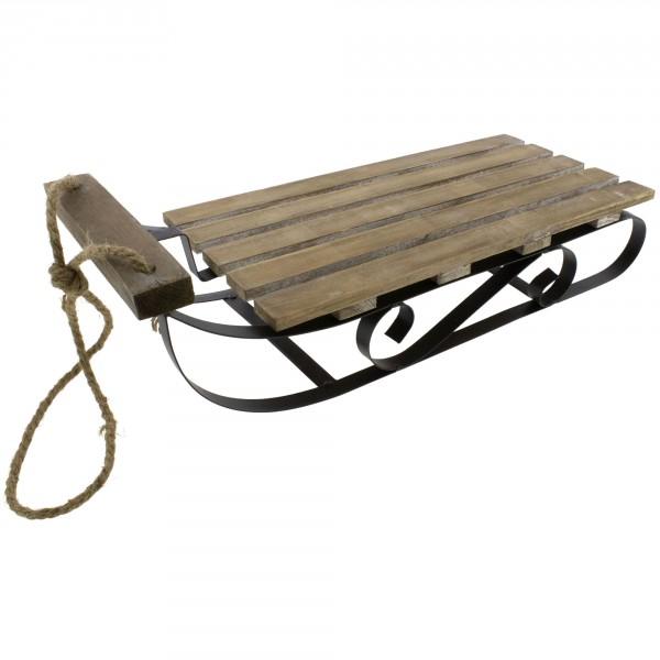 Schlitten aus Holz mit Kufen zur Dekoration L 50 cm