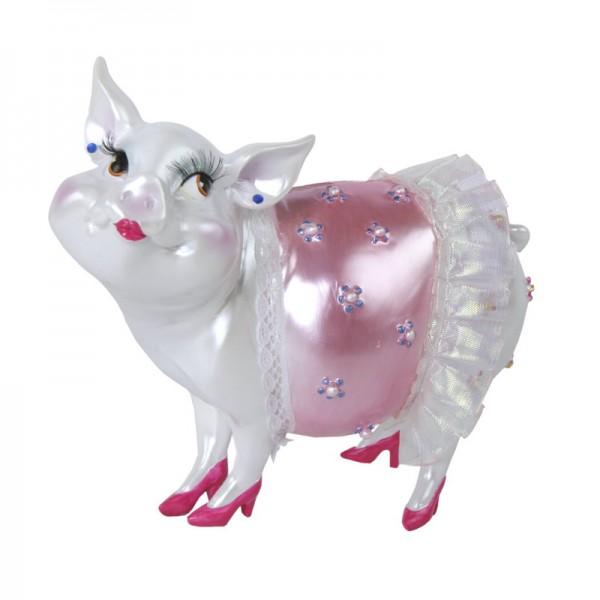 """Sparschwein """"Lady Piggy"""" pink mit Spitze, 17 cm"""
