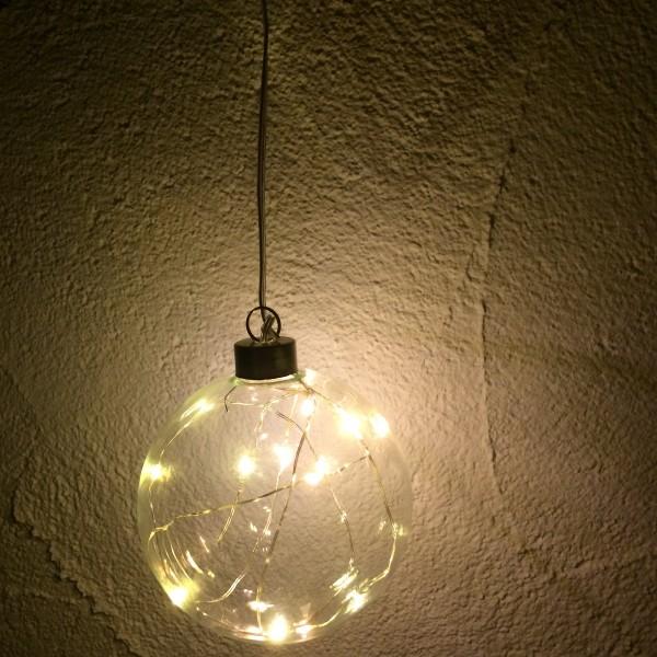 Glaskugel mit 10er LED Lichterkette, batteriebetrieben Ø 10 cm