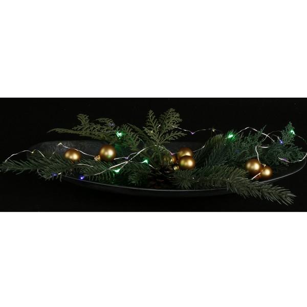 Lichterkette aus Kupferdraht, 20 x LEDs multi, Batteriefach L 180 cm