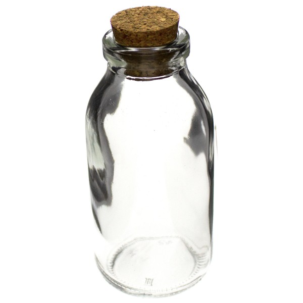 Glasfläschchen im Landhausstil 12er Set mit Korken, H 10,5 cm