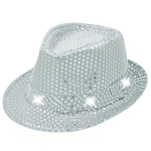 Hut mit Pailletten und LEDs, silber