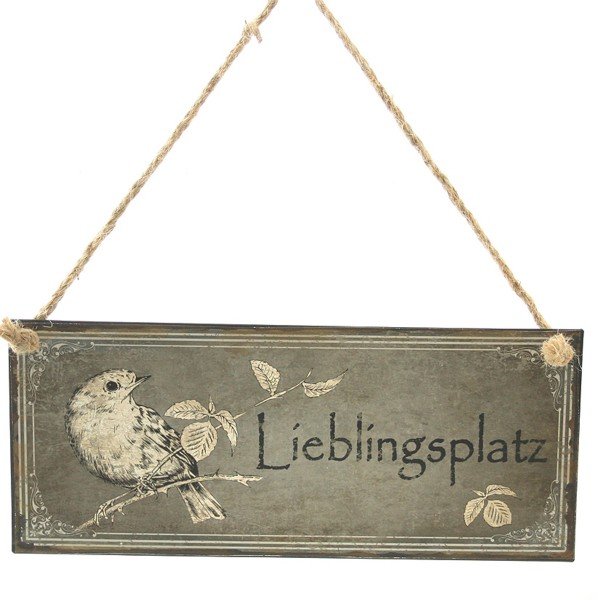 """Schild """"Lieblingsplatz"""" aus Metall 30,5 x 13 cm"""