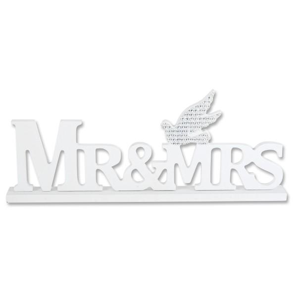 Schriftzug Mr & Mrs stehend mit Strass-Taube 29,5 cm