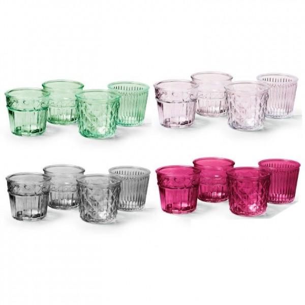 "8 x Teelichtgläser/Vasen ""Holly"" im Vintage-Look - 4 Modelle sortiert"