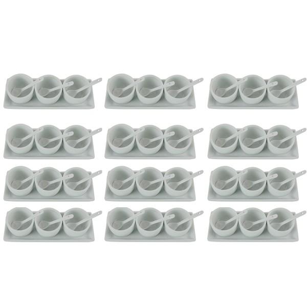 12 x Dipschalen 3-tlg. Set mit Unterteller und Löffel