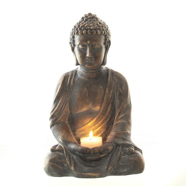 Buddha im Lotussitz aus Magnesia, frostsicher H 42 cm