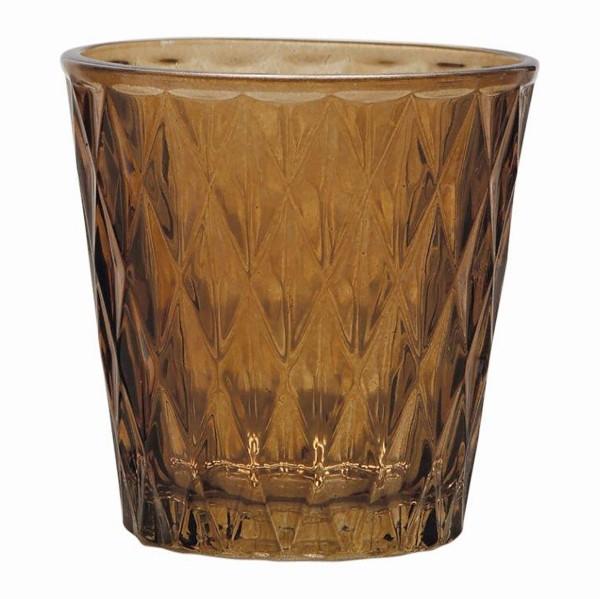 12 x Windlichter aus Glas im Rauten-Design, Amber
