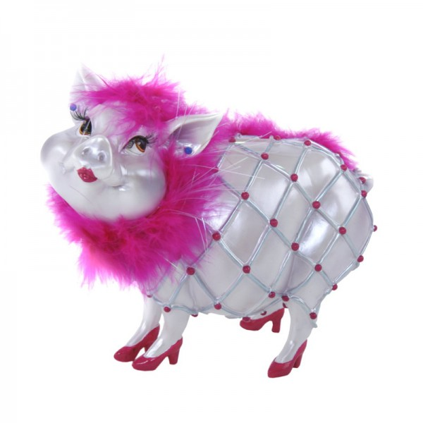 """Sparschwein """"Lady Piggy"""" silbergrau mit pinker Boa, 17 cm"""