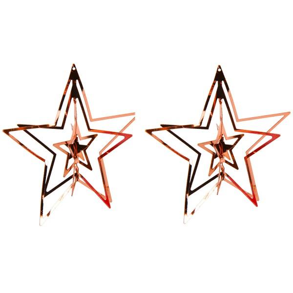 Weihnachtshänger Sterne 2-tlg. Set Ø 7 cm kupferfarben